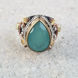Jewelry - Aqua Chalcedony Three Tone Sterling Silver Ring